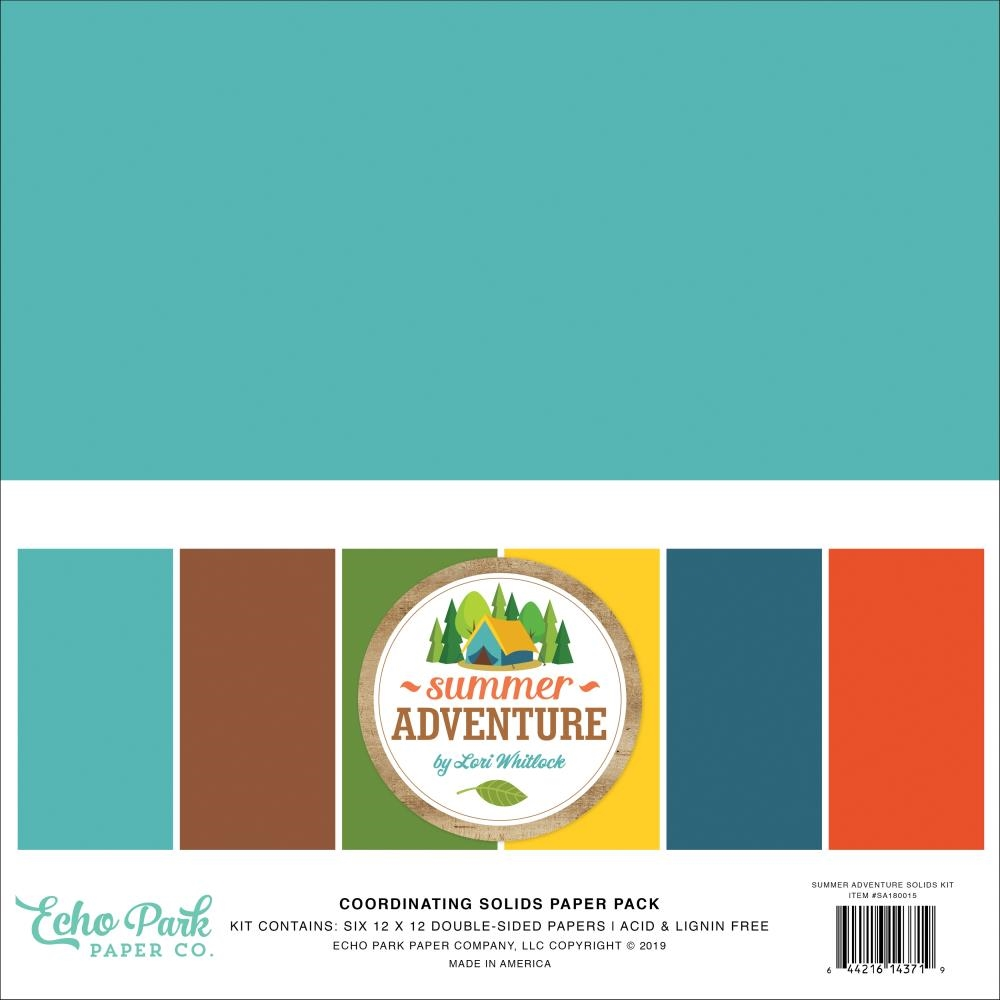 Echo Park SUMMER ADVENTURE 12 x 12 Double Sided Solids Paper Pack sa180015 zoom image