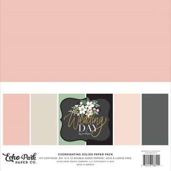 Echo Park WEDDING DAY 12 x 12 Double Sided Solids Paper Pack wd181015