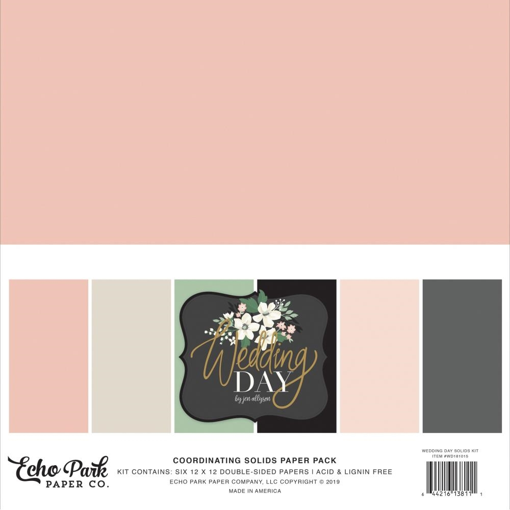 Echo Park WEDDING DAY 12 x 12 Double Sided Solids Paper Pack wd181015 zoom image