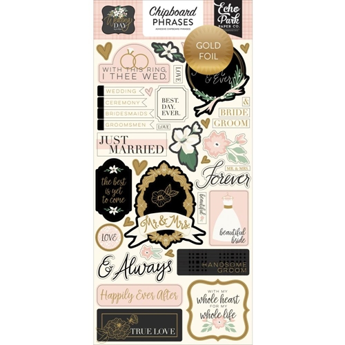 Echo Park WEDDING DAY Chipboard Phrases wd181022 Preview Image