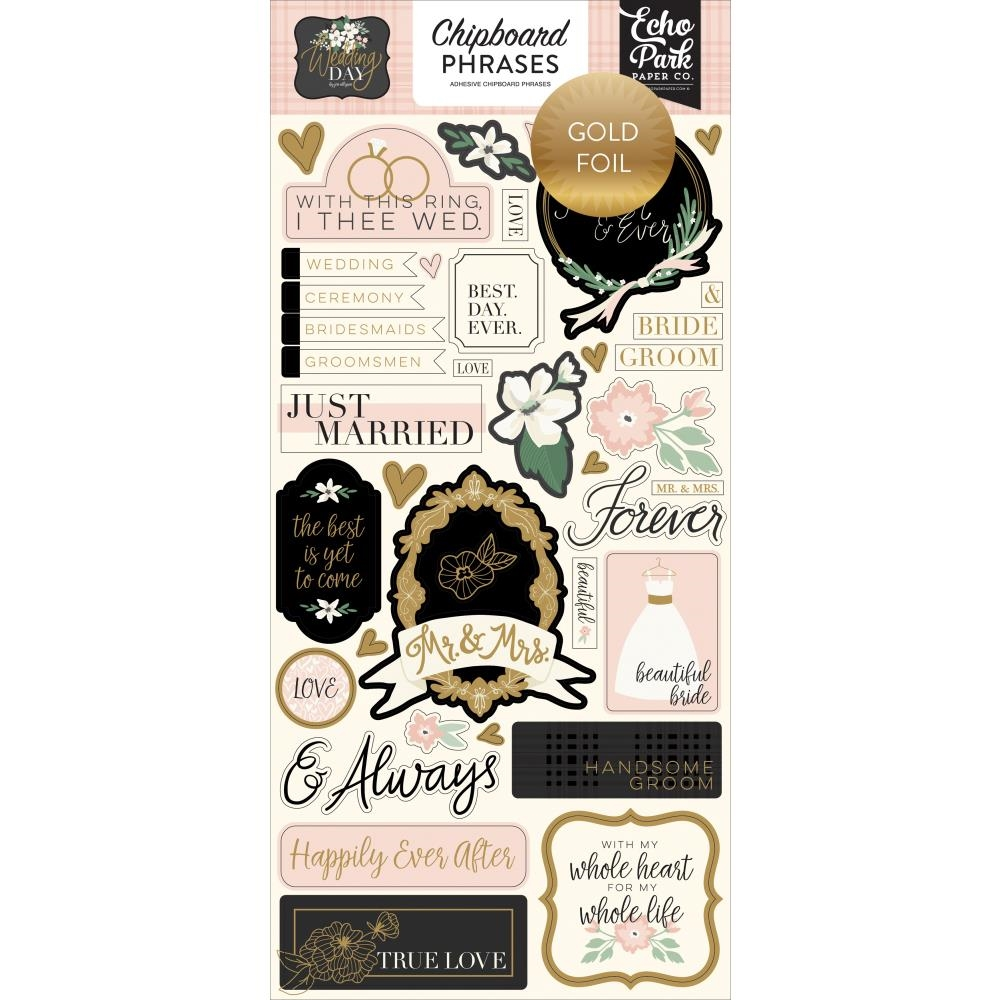 Echo Park WEDDING DAY Chipboard Phrases wd181022 zoom image