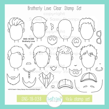 Sweet 'N Sassy BROTHERLY LOVE Clear Stamp Set sns-18-038*