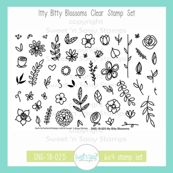 Sweet 'N Sassy ITTY BITTY BLOSSOMS Clear Stamp Set sns-18-025