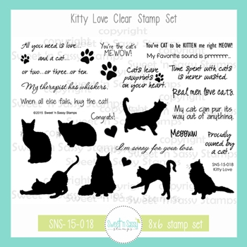 Sweet 'N Sassy KITTY LOVE Clear Stamp Set sns-15-018
