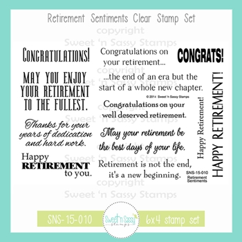 Sweet 'N Sassy RETIREMENT SENTIMENTS Clear Stamp Set sns-15-010
