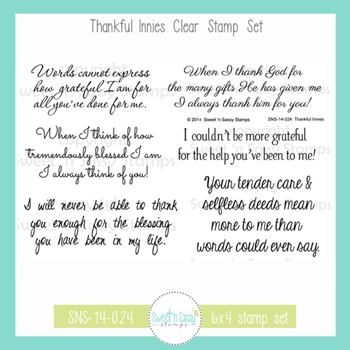 Sweet 'N Sassy THANKFUL INNIES Clear Stamp Set sns-14-024