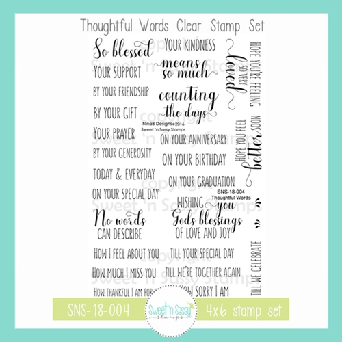 Sweet 'N Sassy THOUGHTFUL WORDS Clear Stamp Set nb-sns-18-004 Preview Image