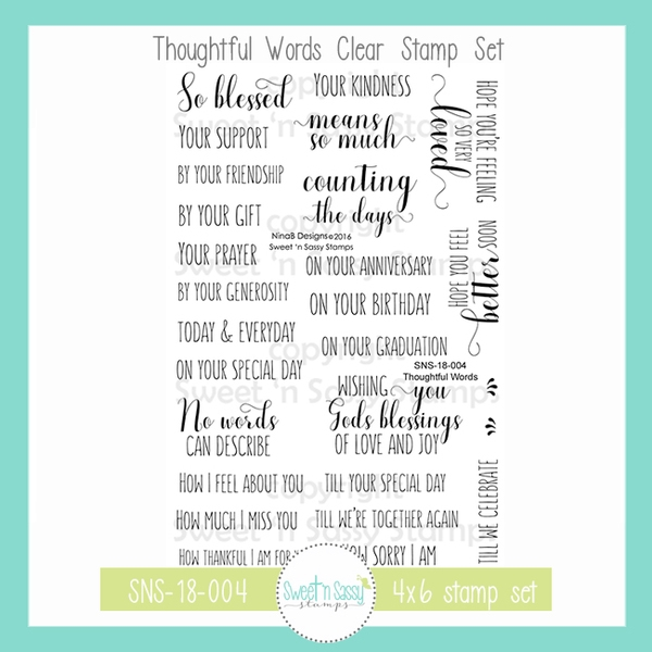 Sweet 'N Sassy THOUGHTFUL WORDS Clear Stamp Set nb-sns-18-004 zoom image