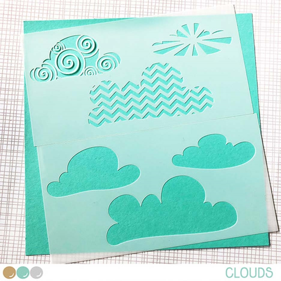 Create A Smile CLOUDS Stencil scs32 zoom image
