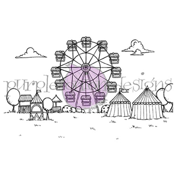 Purple Onion Designs FAIRGROUNDS BACKGROUND Cling Stamp pod1041