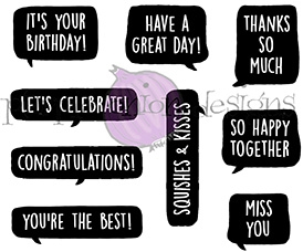 Purple Onion Designs EVERYDAY BLURBS Cling Stamp pod9003
