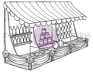 Purple Onion Designs GAME BOOTH Cling Stamp pod1042