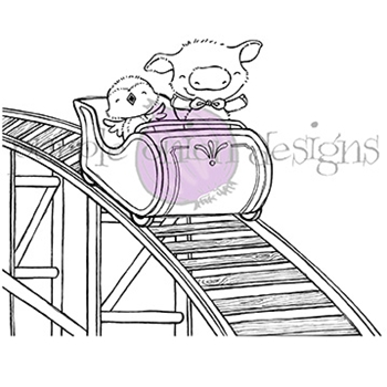 Purple Onion Designs ROLLER COASTER Cling Stamp pod1046