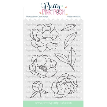 Pretty Pink Posh PEONIES Clear Stamps