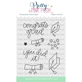 Pretty Pink Posh CONGRATS GRAD Clear Stamps