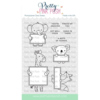 Pretty Pink Posh ANIMAL SIGNS Clear Stamps