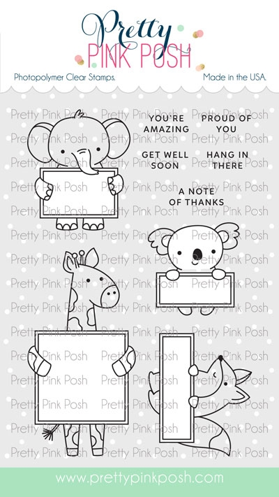 Pretty Pink Posh ANIMAL SIGNS Clear Stamps zoom image
