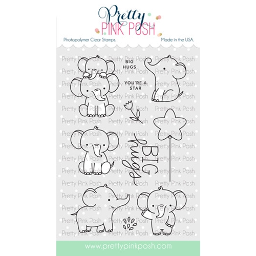 Pretty Pink Posh ELEPHANT FRIENDS Clear Stamps Preview Image