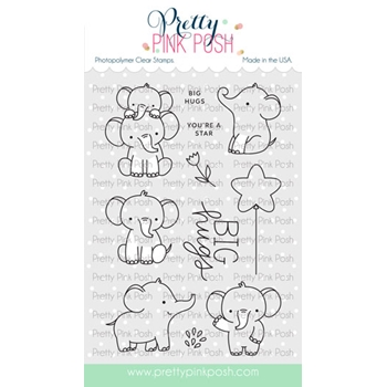 Pretty Pink Posh ELEPHANT FRIENDS Clear Stamps