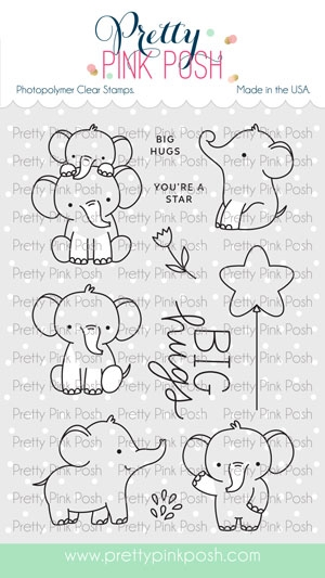 Pretty Pink Posh ELEPHANT FRIENDS Clear Stamps zoom image