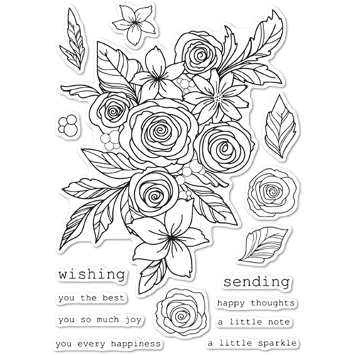 Memory Box Clear Stamps ROSE BOUQUET Open Studio cl5241 Preview Image