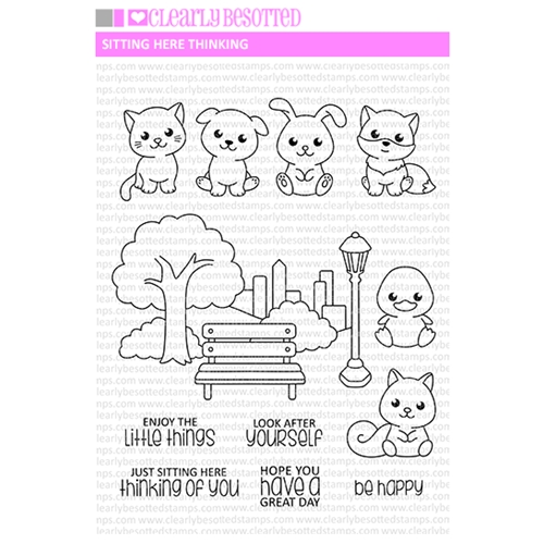 Clearly Besotted SITTING HERE THINKING Clear Stamps  Preview Image
