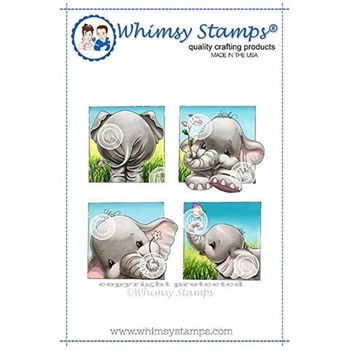 Whimsy Stamps ELLIE SUMMER SQUARES Cling Stamp C1334