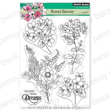 Penny Black Clear Stamps FLOWER FANTASY 30-565