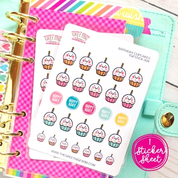 The Greeting Farm BIRTHDAY CUPCAKES Stickers TGF475