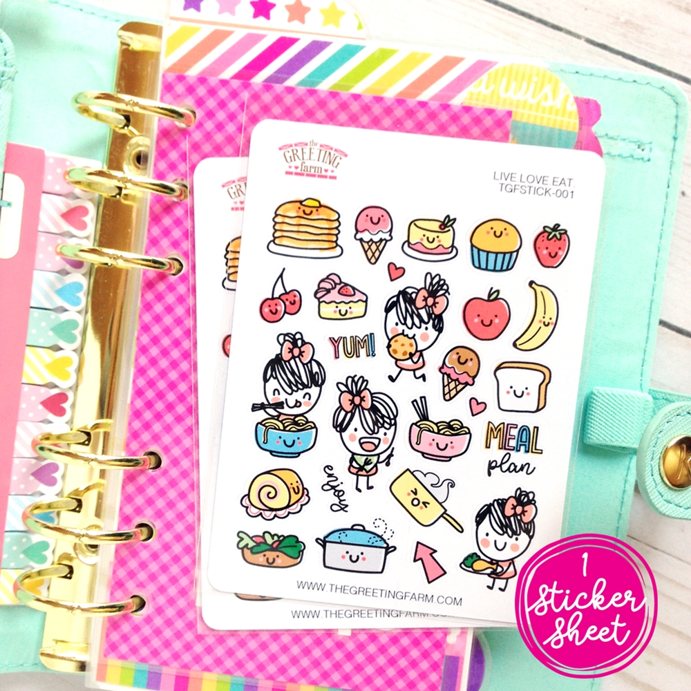 The Greeting Farm LIVE LOVE EAT Stickers TGF481 zoom image