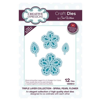 Creative Expressions SPIRAL PEARL FLOWER Sue Wilson Triple Layer Collection Dies ced9512