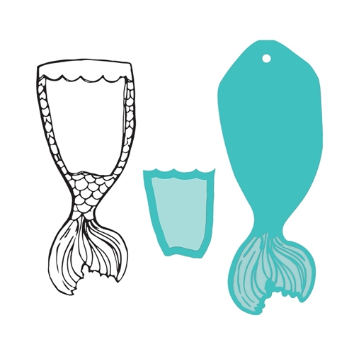 JDDS-048 Spellbinders MERMAID TAIL SWATCH Clear Stamp and Die Set  Preview Image