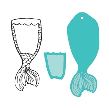 JDDS-048 Spellbinders MERMAID TAIL SWATCH Clear Stamp and Die Set