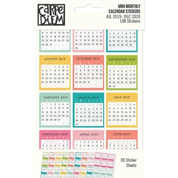 Simple Stories MINI MONTHLY CALENDAR Carpe Diem Stickers 10761