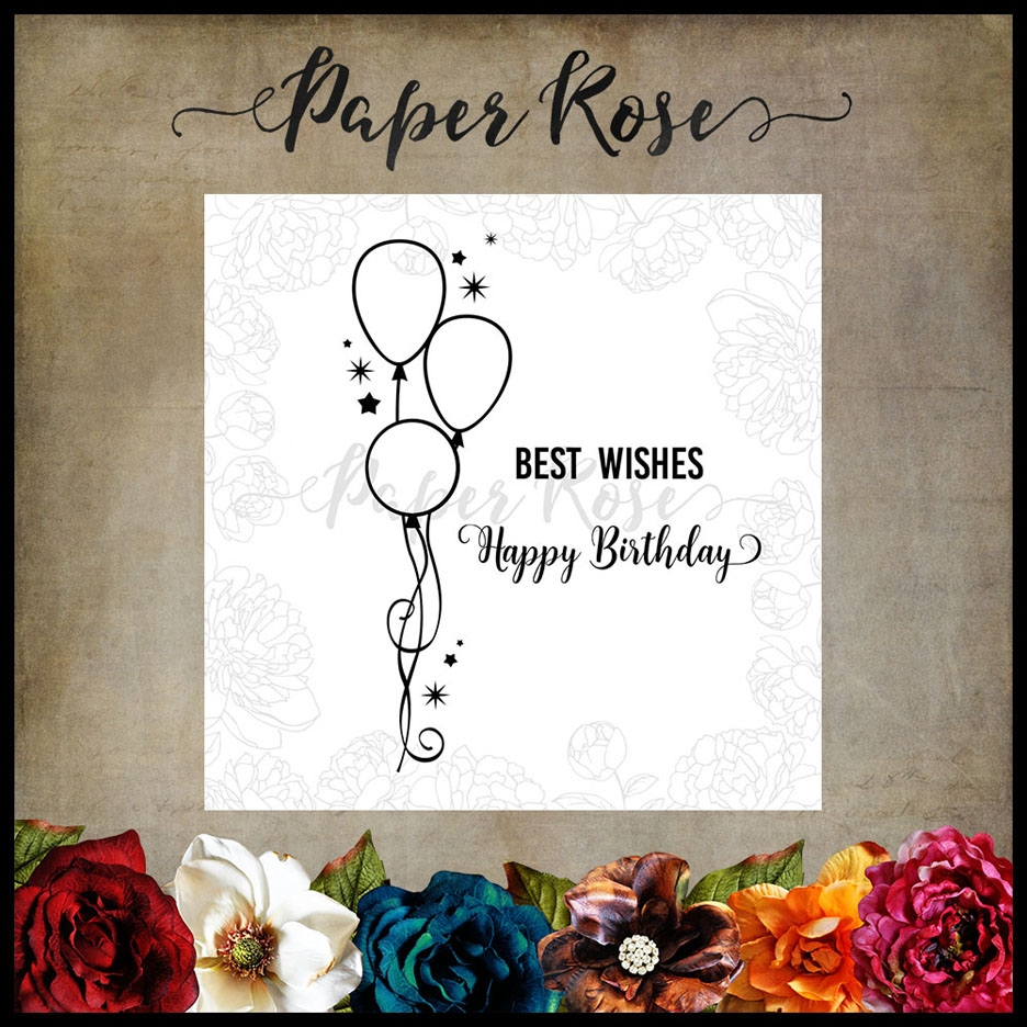 Paper Rose BIRTHDAY WISHES Clear Stamps 17601 zoom image