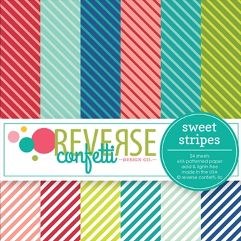 Reverse Confetti SWEET STRIPES 6x6 Inch Paper Pad