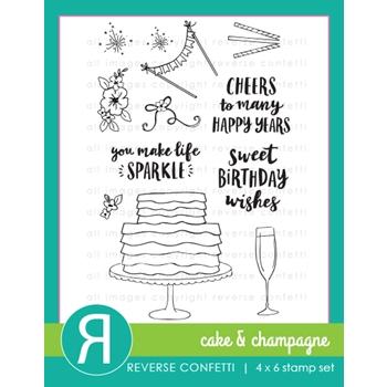 Reverse Confetti CAKE AND CHAMPAGNE Clear Stamps