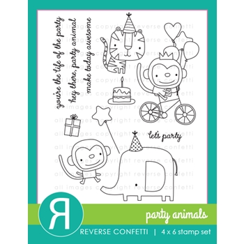 Reverse Confetti PARTY ANIMALS Clear Stamps