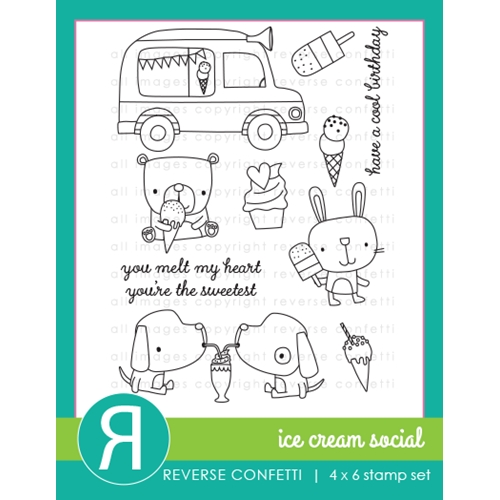 Reverse Confetti ICE CREAM SOCIAL Clear Stamps Preview Image