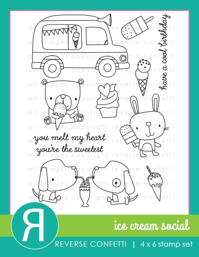 Reverse Confetti ICE CREAM SOCIAL Clear Stamps zoom image