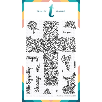 Trinity Stamps FLORAL CROSS Clear Stamp Set 434257