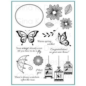 Gina K Designs WARM SPRING WISHES Clear Stamps 6444