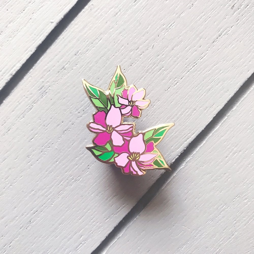 The Gray Muse BRIGHT PINK FLOWERS FOR HER Enamel Pin tgm-m19-p15 zoom image
