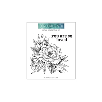 Concord & 9th VINTAGE FLOWER Clear Stamp Set 10616