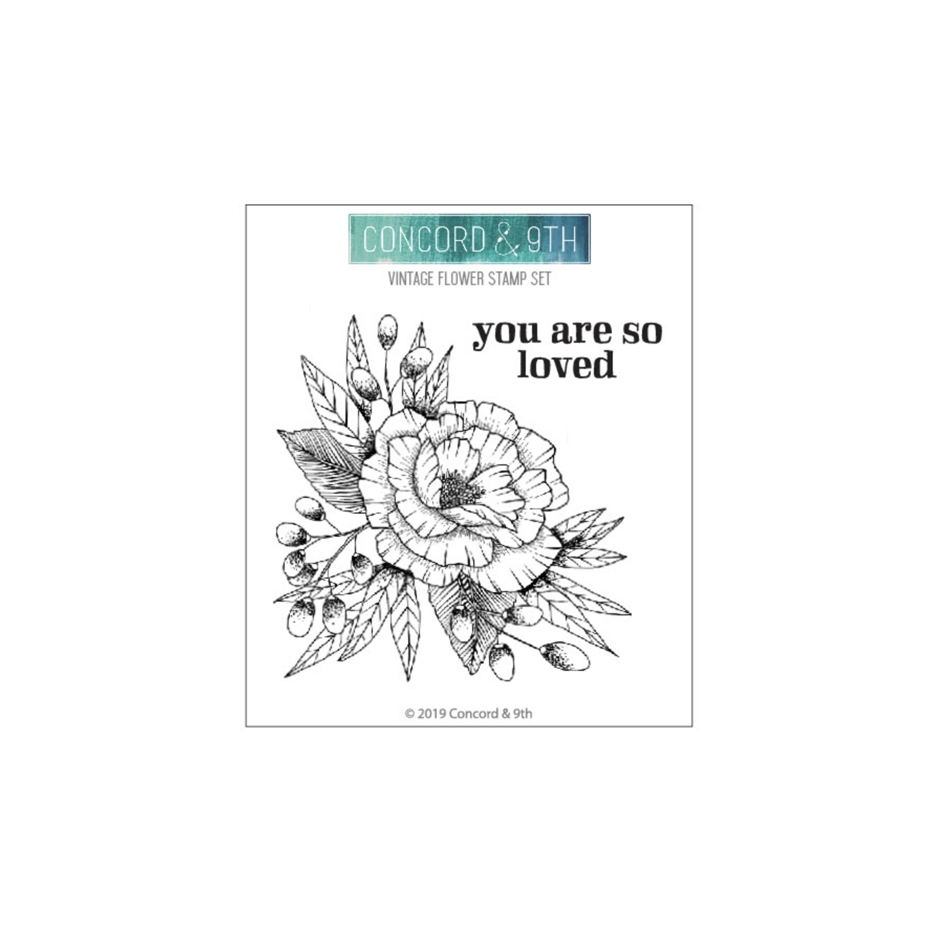 Concord & 9th VINTAGE FLOWER Clear Stamp Set 10616 zoom image
