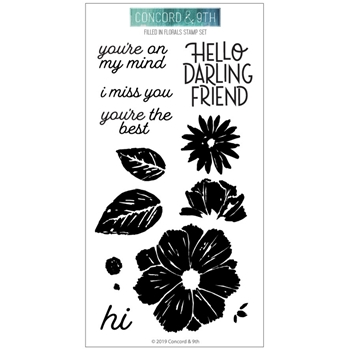 Concord & 9th FILLED IN FLORALS Clear Stamp Set 10601