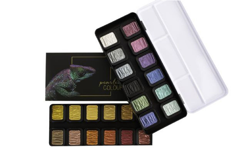 Finetec MICA WATERCOLOR PEARLESCENT Paint 24 Set f2400 zoom image