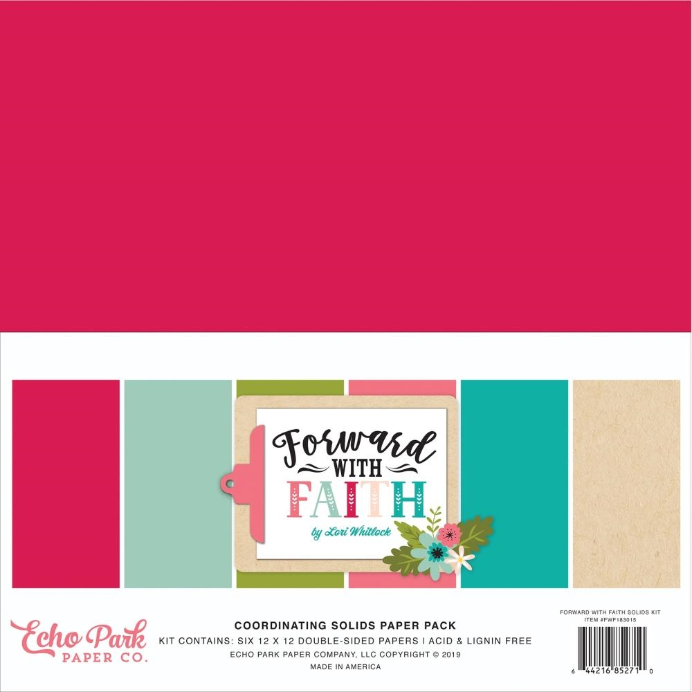 Echo Park FORWARD WITH FAITH 12 x 12 Double Sided Solids Paper Pack fwf183015 zoom image
