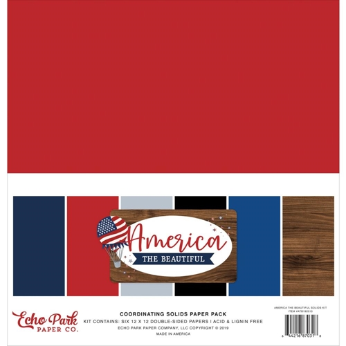 Echo Park AMERICA THE BEAUTIFUL 12 x 12 Double Sided Solids Paper Pack atb192015 Preview Image