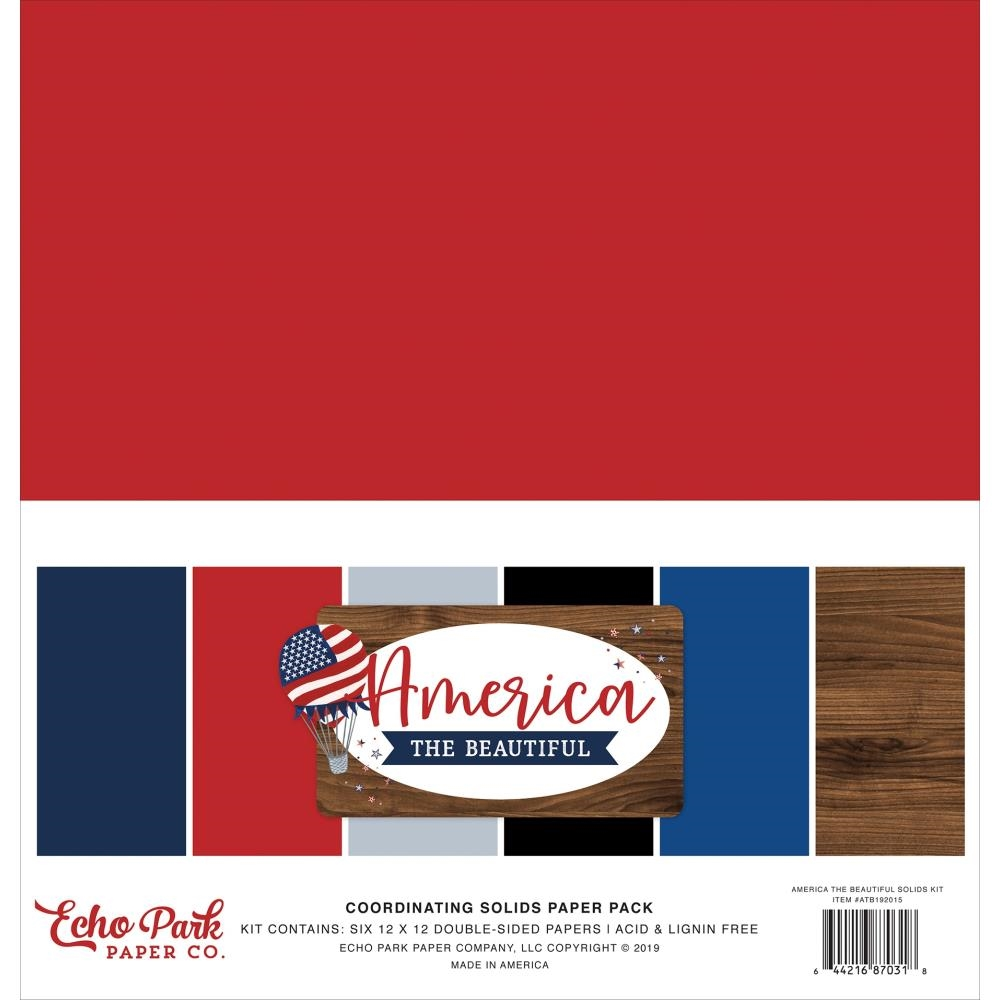 Echo Park AMERICA THE BEAUTIFUL 12 x 12 Double Sided Solids Paper Pack atb192015 zoom image